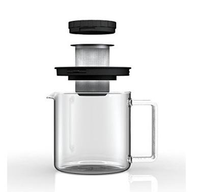 Teiera in vetro a forma cilindrica