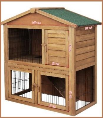 Gabbie per animali in legno e con tetto impermeabile