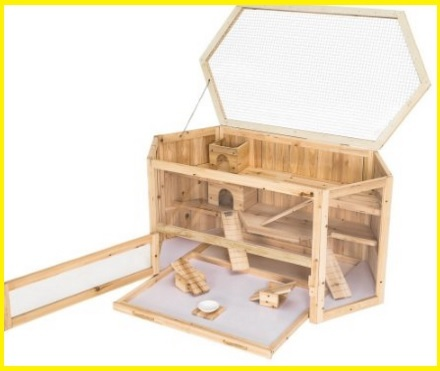 Gabbia legno criceto molto spaziosa