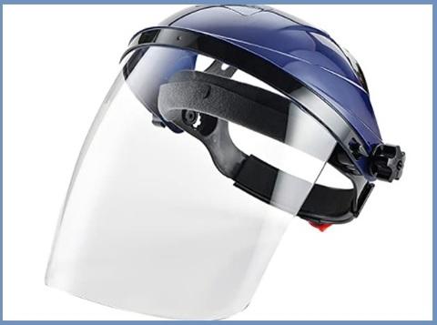 Caschetto di protezione con visiera sanitario