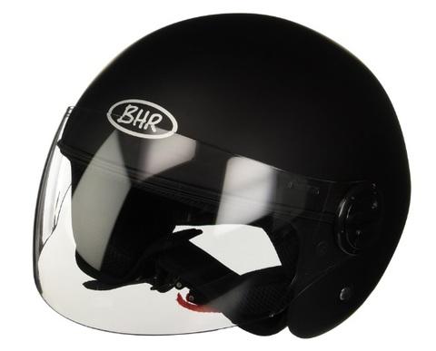 Casco scooter nero opaco visiera trasparente