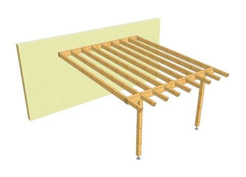 Pergolato in legno con basi regolabili