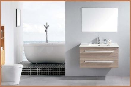 Mobile bagno con frontali in rovere nodato