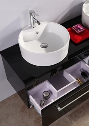 Mobile bagno moderno laccato lucido nero grandi sconti - Mobile bagno nero lucido ...