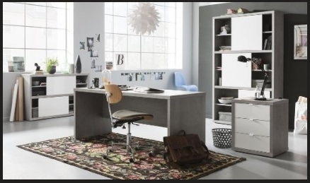Ufficio completo e componibile color cemento