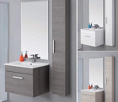Arredo bagno mobile con lavabo e specchio e colonna