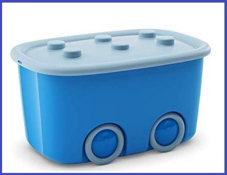 Contenitore per giocattoli con ruote azzurro