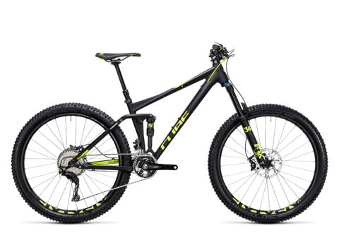 "Cube stereo 140 hpa race 27.5 black n flashyellow 27.5"" 18"""