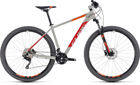 "Cube mtb attention grey n red 17"" 29"" 2018"