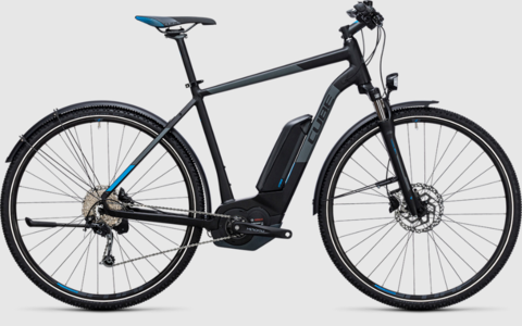 Cube ebike cross hybrid pro allroad 500wh black n blue 50