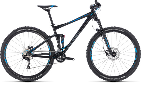 "Cube mtb fullsuspension stereo 120 black n blue 18"" 2018"