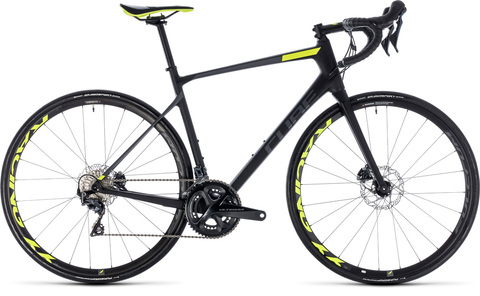 Cube road attain gtc slt disc carbon n flashyellow 2018 53