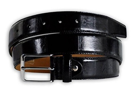 Cintura in pelle di anguilla leather uomo nera