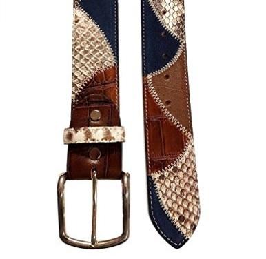 Cintura originale in pelle di pitone struzzo e bovina