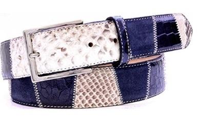 Cintura originale in pelle di coccodrillo e pitone