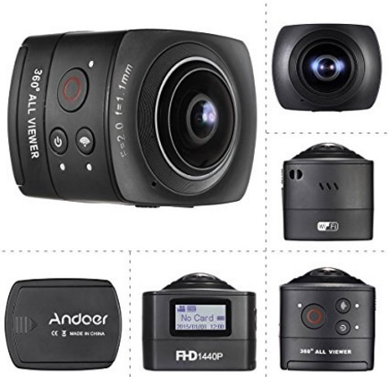 Videocamera 360° andoer wifi full hd