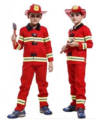 Costume di carnevale di sam il pompiere rosso