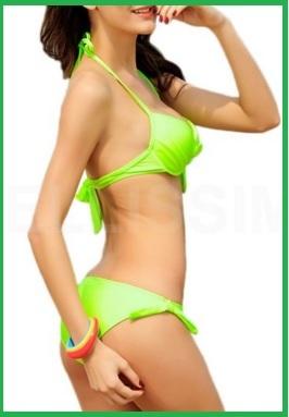 Costumi Bagno Bikini Push Ups Brasiliani Fluo