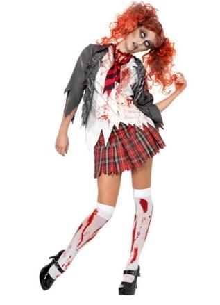 Costume da zombie donna scuola per halloween