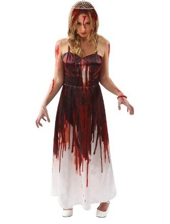 Costume da donna per halloween pieno di sangue
