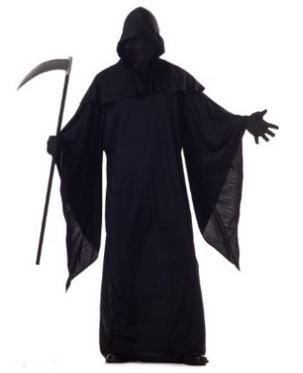 Costume spaventoso tutto nero della morte per halloween