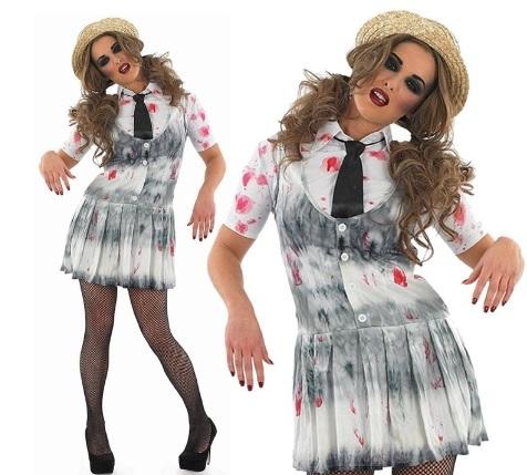 Halloween costume zombie school girl