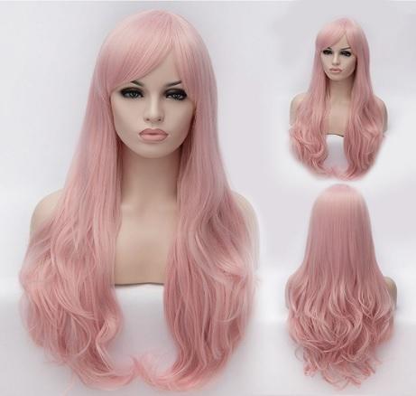Parrucca Ondulata Rosa Per Halloween