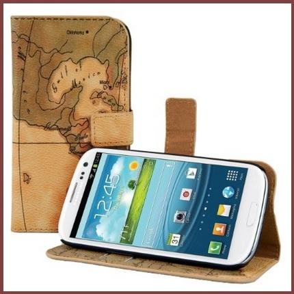 Custodia flip carta geografica per smartphone samsung galaxy