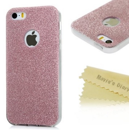 Iphone se cover morbida con brillantini rosa