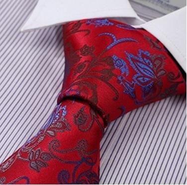 Cravatta Blu E Rossa Fantasia Microfibra