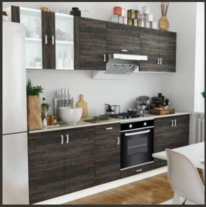 Cucina moderna componibile wenge con forno ad incastro for Forno a legna cucina moderna