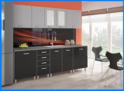 Cucina moderna e completa in alluminio di color nero