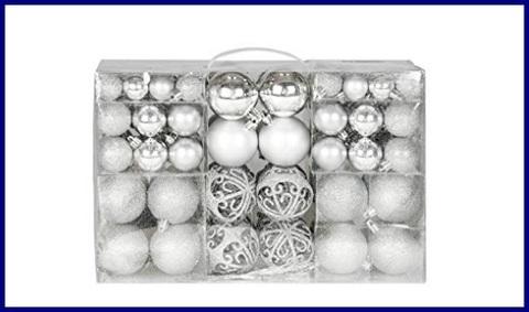 Decorazioni natale argento 100 pezzi