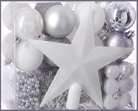 Decorazioni natale bianche e argento