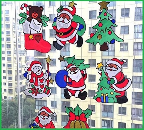 Decorazioni natalizie finestre gel