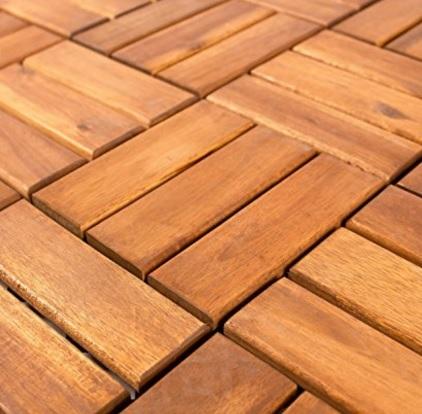 Piastrelle in legno d'acacia, per terrazzi