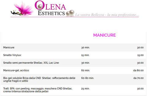 Listino prezzi nails manicure e pedicure