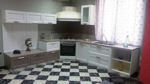 Cucina componibile monoblocco lavello cappa p cottura - Cucina piano cottura angolare ...