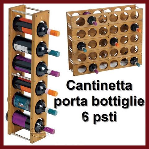 Cantinetta portabottiglie x vino acqua 6 posti legno