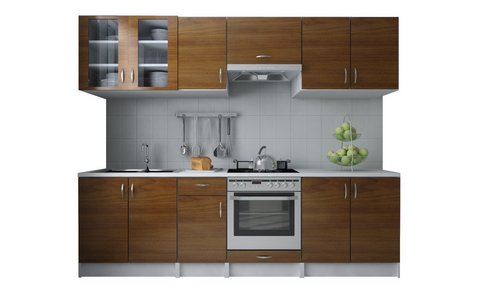 Cucina componibile con 4 vani superiori marrone chiaro