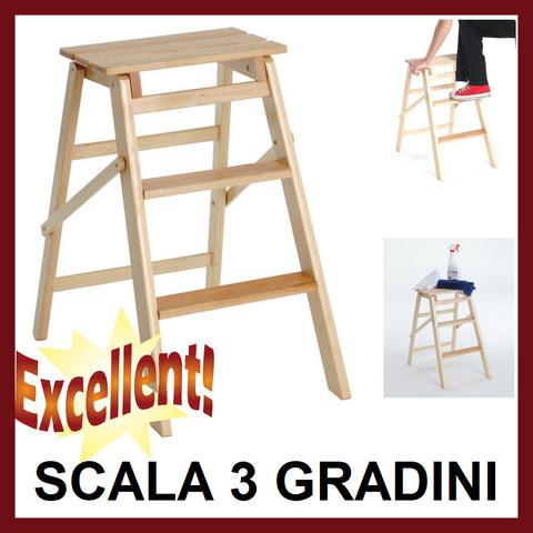 Scala 3 gradini legno di faggio antiscivolo pieghevole