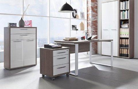 Ufficio e studio componibile rovere tartufo e laccato for Arredo ufficio bianco