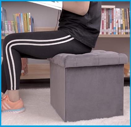 Pouf contenitore in tessuto colorato porta giochi libri