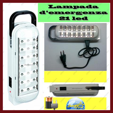 Lampada luce d'emergenza ricaricabile portabile 21 led