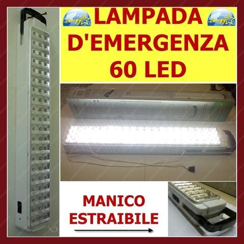 Lampada luce d'emergenza ricaricabile portabile 60 led