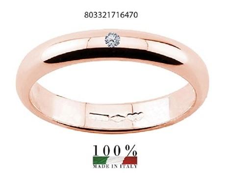 Fede nuziale con diamante 18 carati oro rosa
