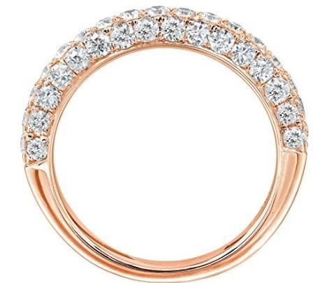 Fede nuziale oro rosa tempestata di diamanti