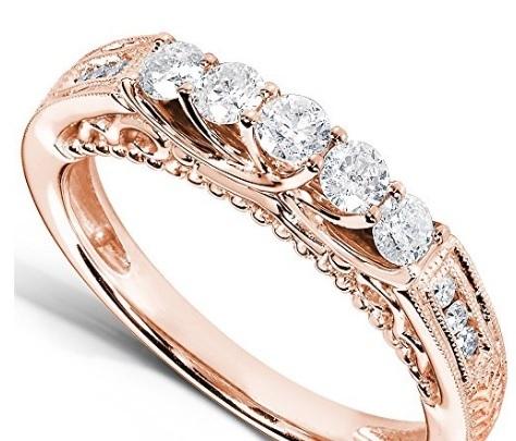 Fede Nuziale Tempestata Di Diamanti In Oro Rosa 14 Kt