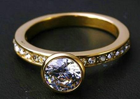Fede nuziale con diamante zircone placcato oro