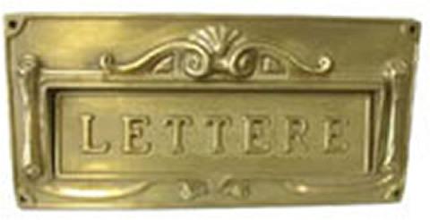 Buca lettere ghisa verniciata oro mm.300x140 sicuro